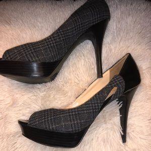 Marc Fisher Grey peep-toe platform heels